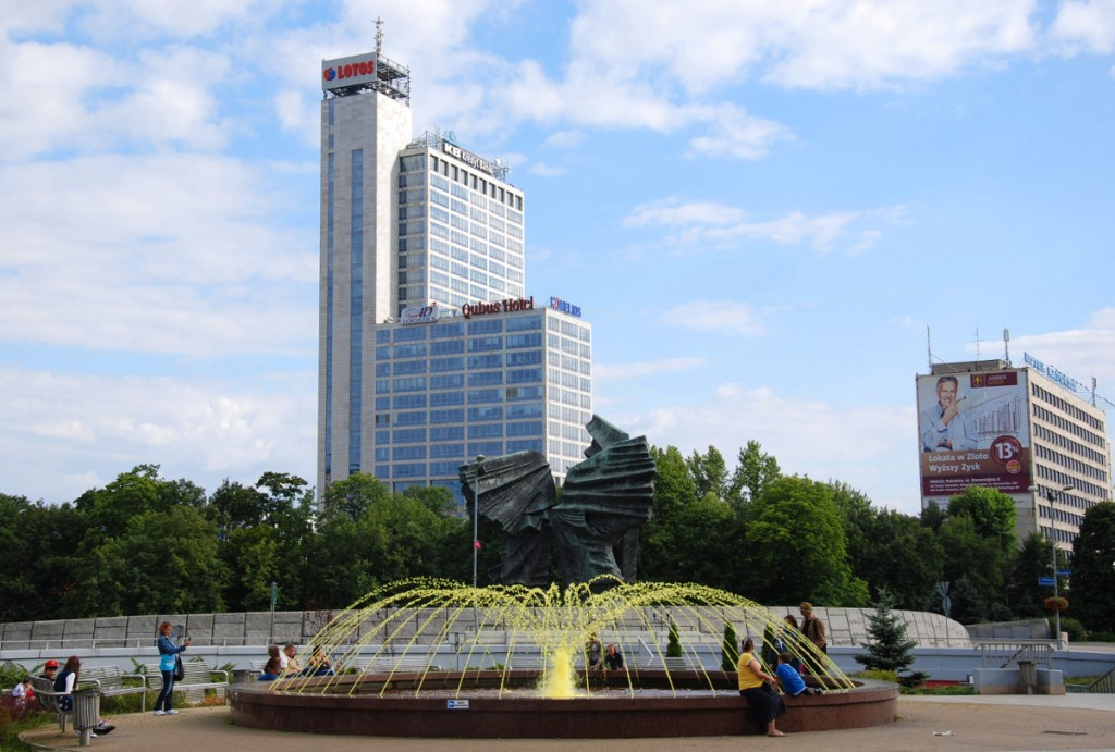 Gelber Springbrunnen in Katowice